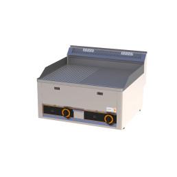 Gas-Grillplatte 1/2 gerillt 1/2 glatt 2 Heizzonen 660 x 600 x 290 mm