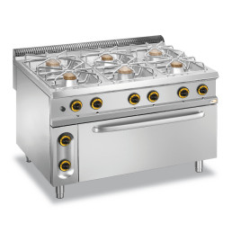 Gas-Herd 6 Brenner Maxi-Gas-Backofen 1200 x 900 x 850 mm