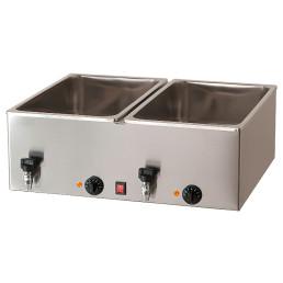 Elektro-Bain-Marie 2 x GN 1/1 H=200 mm mit Ablaufhahn 690 x 540 x 300 mm