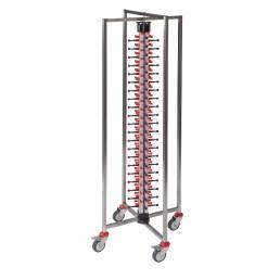 Tellerstapelsystem PLATE MATE, fahrbar und faltbar, bis 84 Teller / H=1900 mm