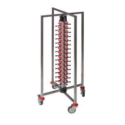 Tellerstapelsystem PLATE MATE, fahrbar und faltbar, bis 60 Teller / H=1430 mm