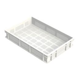Nudelteig-Box Boden und Seiten perforiert, Polyethylen, weiß, 600 x 400 x 100 mm
