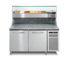 Pizzatisch mit Kühlaufsatzvitrine 7 x GN 1/3 2 Türen 1450 x 800 x 1469 mm