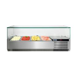 Kühlaufsatzvitrine mit Glasaufsatz 4 x GN 1/3