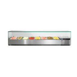 Kühlaufsatzvitrine mit Glasaufsatz 8 x GN 1/3