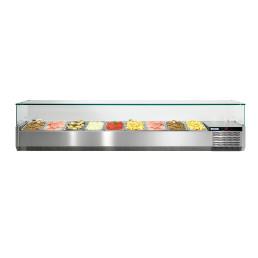 Kühlaufsatzvitrine mit Glasaufsatz 9 x GN 1/3