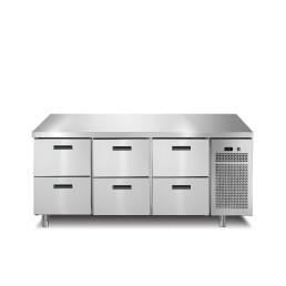 Kühltisch 1 Tür 4 Schubladen mit 50 mm Aufkantung