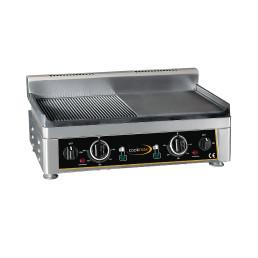 Elektro-Grillplatte 2 Heizzonen 1/2 glatt 1/2 gerillt 560 x 440 x 300 mm