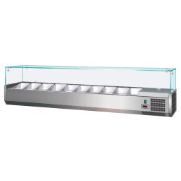 Kühlaufsatzvitrine 8 x GN 1/3 H=150 mm, 1800 x 395 x 435 mm