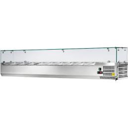 Kühlaufsatzvitrine 9 x GN 1/3 H=150 mm, 2000 x 395 x 435 mm