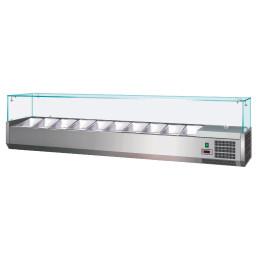 Kühlaufsatzvitrine 4 x GN 1/3 + 1 x GN 1/2 H=150 mm, 1400 x 395 x 435 mm