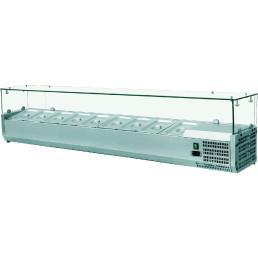 Kühlaufsatzvitrine 5 x GN 1/4 H=150 mm, 1200 x 335 x 435 mm