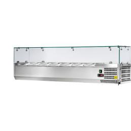 Kühlaufsatzvitrine 7 x GN 1/4 H=150 mm, 1500 x 335 x 435 mm