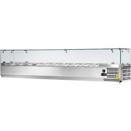 Kühlaufsatzvitrine 10 x GN 1/4 H=150 mm, 2000 x 335 x 435 mm