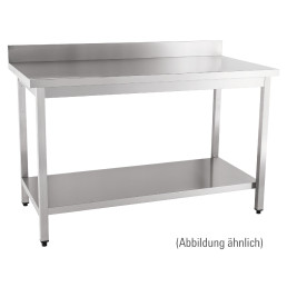 Arbeitstisch fertig montiert mit Boden 100 mm Aufkantung 1800 x 600 x 850 mm