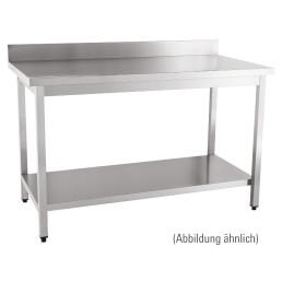 Arbeitstisch fertig montiert mit Boden 100 mm Aufkantung 2000 x 600 x 850 mm