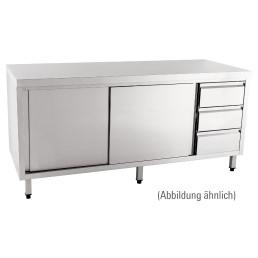 Arbeitsschrank mit Schiebetüren  ohne Aufkantung Schubladen rechts