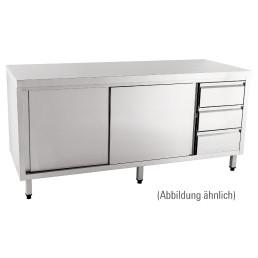 Arbeitsschrank mit Schiebetüren  ohne Aufkantung Schubladen links