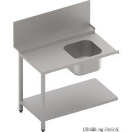 Zulauftisch mit Becken und Ablagebord, 700 mm breit