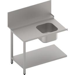 Zulauftisch mit Becken und Ablagebord, 1100 mm breit