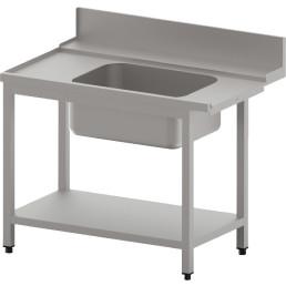Zulauftisch links mit Becken und Ablagebord
