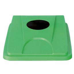Deckel mit Einwurföffnung rund grün für Wertstoffsammler 80 l
