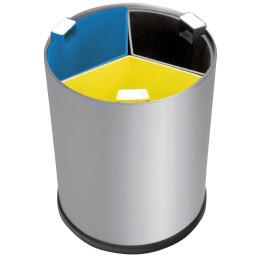 Abfallbehälter, mit Trennsystem, 13,0 l, rund, Edelstahl matt