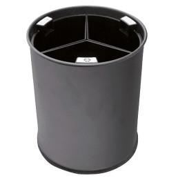 Abfallbehälter, mit Trennsystem, 13,0 l, rund, Metall schwarz