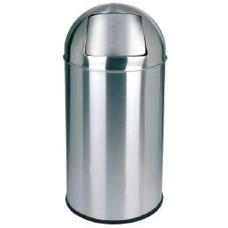 Abfallbehälter, mit Push-Deckel, 40,0 l, rund,Edelstahl poliert