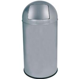 Abfallbehälter, mit Push-Deckel, 40,0 l, rund, Metall silbergrau