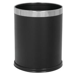 Abfallbehälter, 10,0 l, rund, einwandig, Lederoptik schwarz