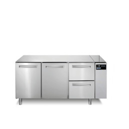 Tiefkühltisch 252 l GN 1/1 2 Türen 2 Schubladen für Zentralkühlung