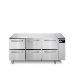 Tiefkühltisch 252 l GN 1/1 6 Schubladen für Zentralkühlung