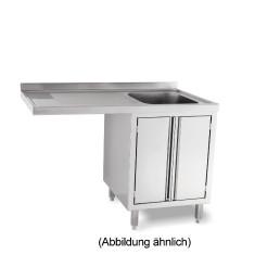 Spülcenterschrank für Spülmaschinen mit 50 mm Aufkantung Türen 2 Becken li.