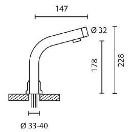 Sensor-Armaturensystem Netzbetrieb 230 V / 280 mm hoch