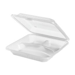 Speisenbehälter mit 3 Fächern 229 x 229 x 89 mm weiß