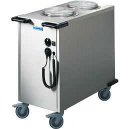 Tellerstapler 2-fach umluftbeheizt 100°C 2 Schächte für Teller 190 - 260 mm