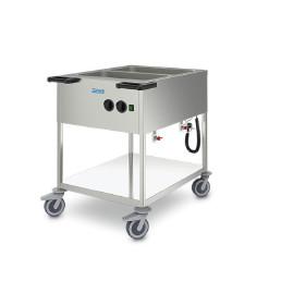 Speisenausgabewagen beheizt 2 Becken für GN 1/1-200 Edelstahl