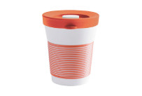 cupit, Becher + Snackdeckel ø 95 mm / 0,35 l coral sunset mit Magic Grip + Boden
