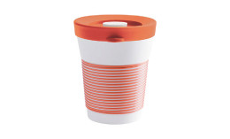 cupit, Becher + Snackdeckel ø 95 mm / 0,35 l coral sunset mit Magic Grip