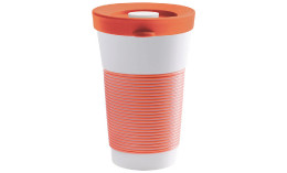 cupit, Becher + Snackdeckel ø 95 mm / 0,47 l coral sunset mit Magic Grip