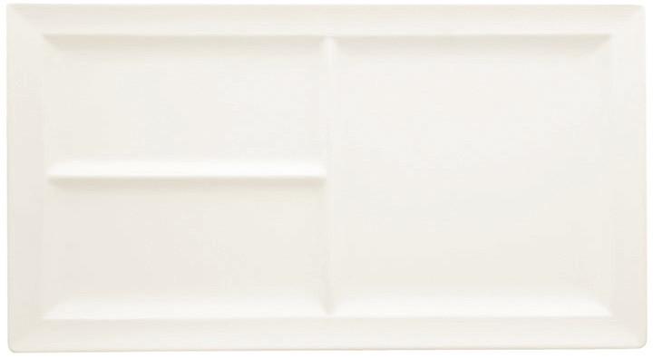 Classic Gourmet, Platte rechteckig 390 x 210 mm mit 3 Flächen creme