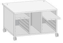 Untergestell 2 Ausziehböden / 8 Schienen für Typ 112L / fahrbar / UG12L