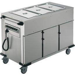 Speisenausgabewagen 3 Fächer je 8 Einschübe / beheizt / mit Warmhaltebecken