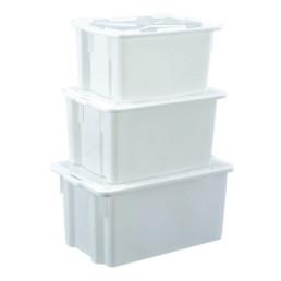 Stapelbehälter mit Deckel 50,00 l / 560 x 410 x 290 mm weiß