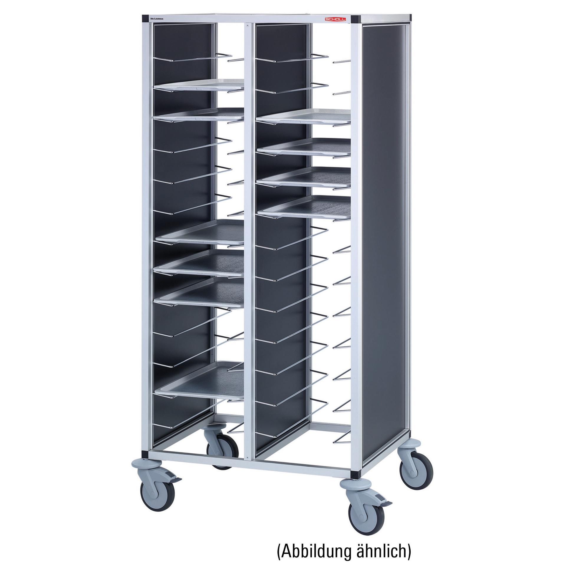Tablett-Abräumwagen 2-teilig / für 44 GN-Tabletts / 100 mm Abstand
