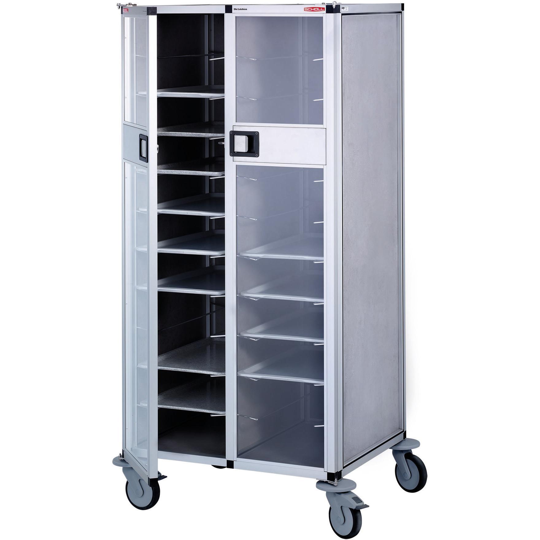 Tablett-Abräumwagen 2-teilig mit Türen / für 22 GN-Tabletts / 100 mm Abstand