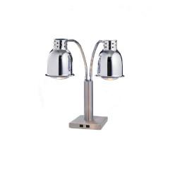 Buffet-Wärmelampe 2 x 250 W / verchromt / Fußplatte 200 x 200 x 40 mm