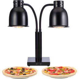 Buffet-Wärmelampe 2 x 250 W / schwarz / Fußplatte 200 x 200 x 40 mm