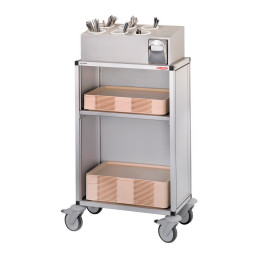 Besteck- / Tablett-Ausgabewagen / fahrbar / mit Melamin-Seitenwänden + Rückwand